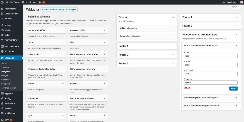 WordPress Widget Area